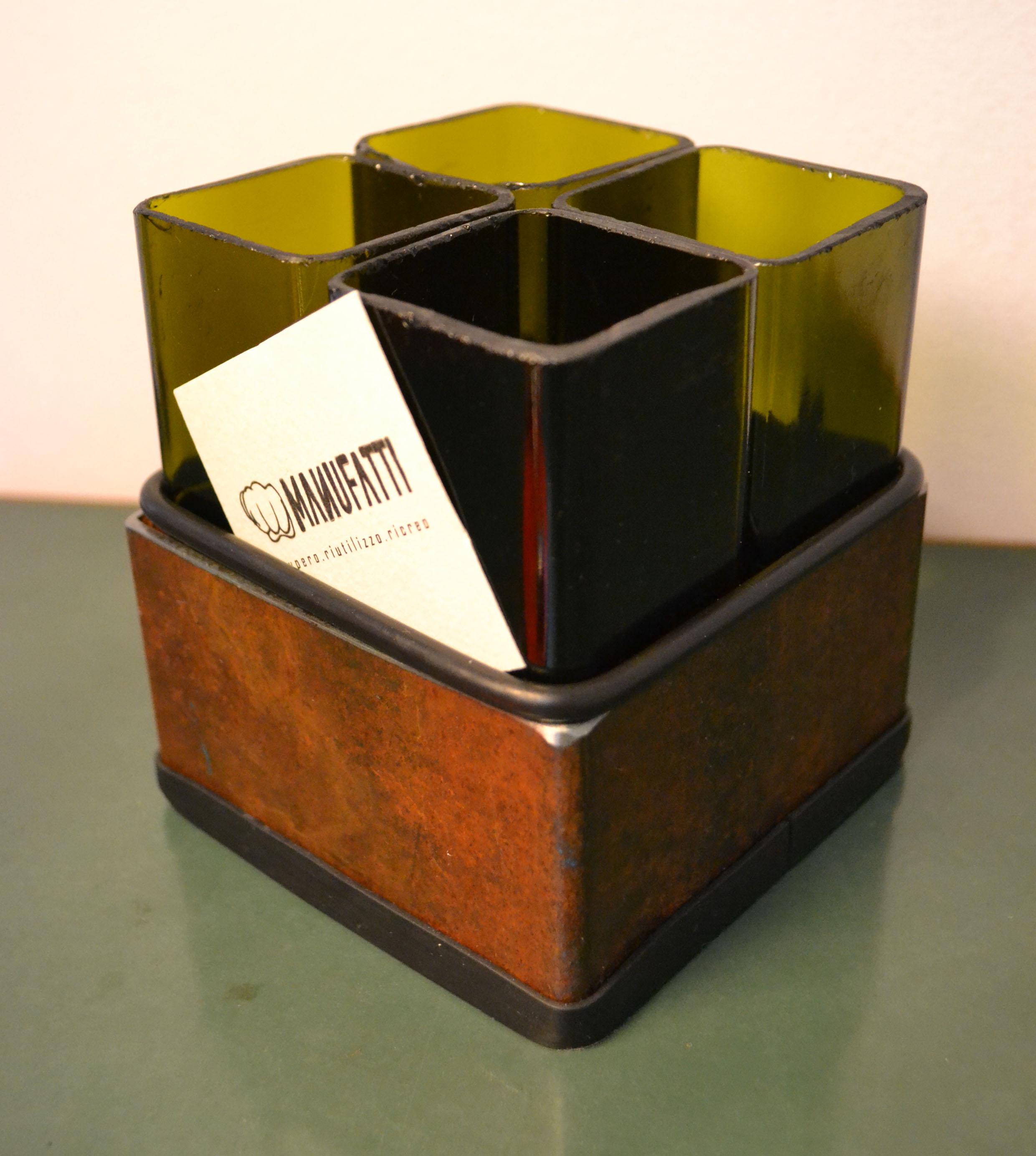 porta penne (vetro e acciaio)