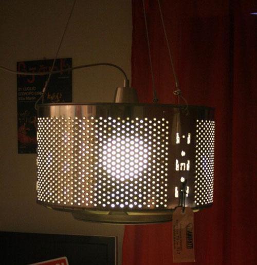 lampadario con cestello lavatrice