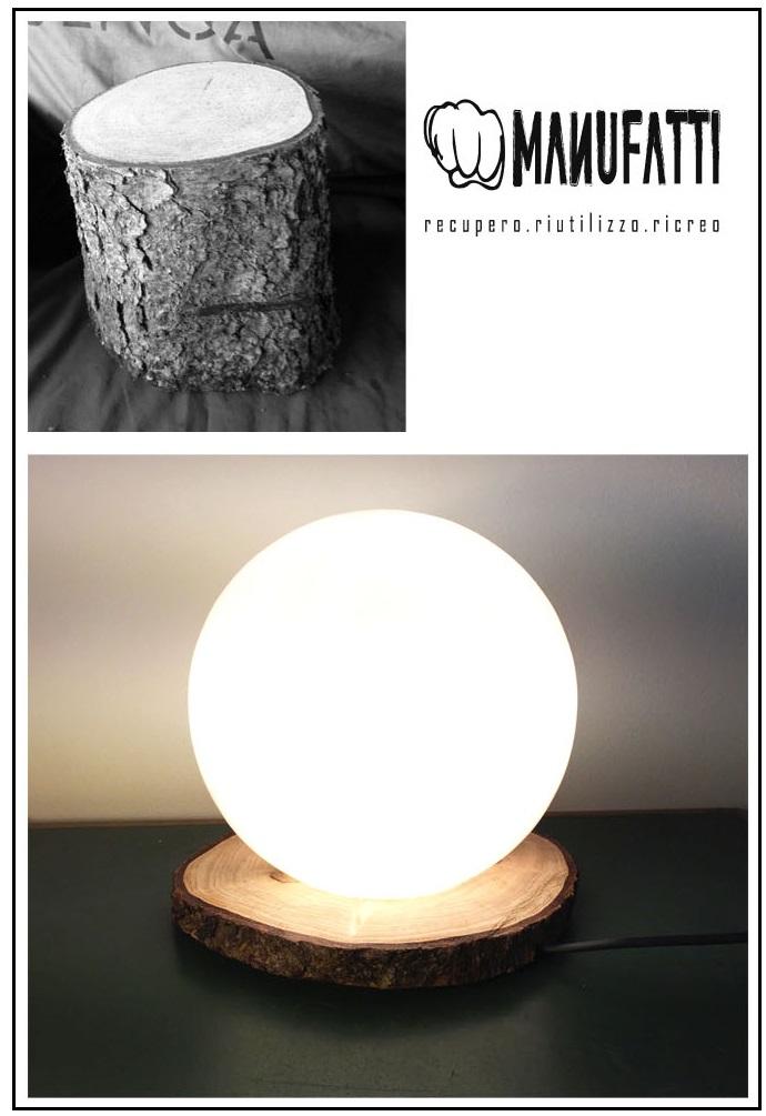Lampada con base in legno